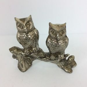 Owl and branch gold tone salt and pepper shakers